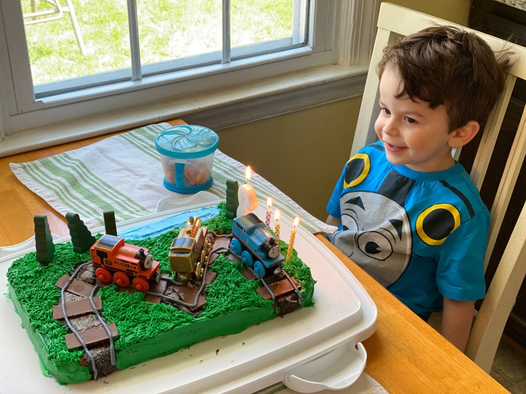 Photo of my son on his 3rd birthday during COVID